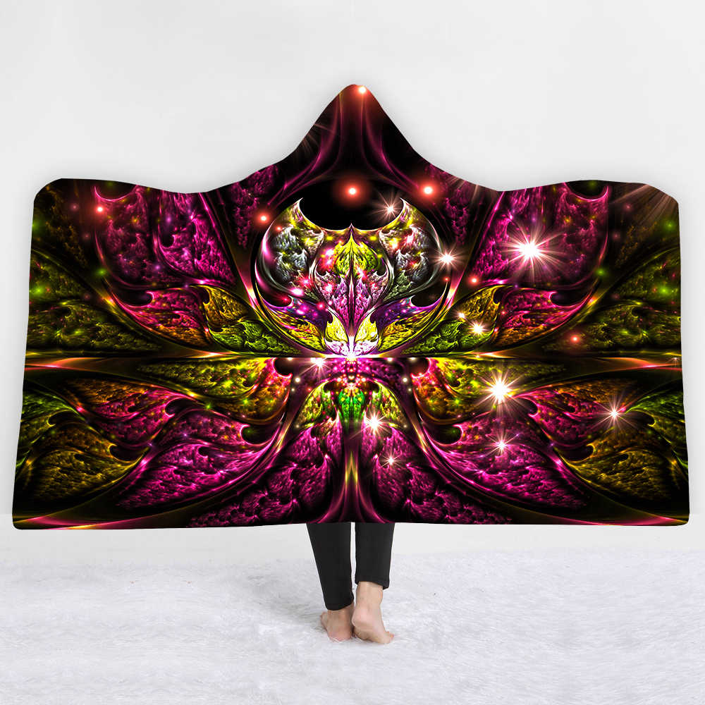 3D Mandala pattern Hooded Blanket Sherpa Fleece Wearable plush Throw Blanket on Bed Sofa Thick warm B83