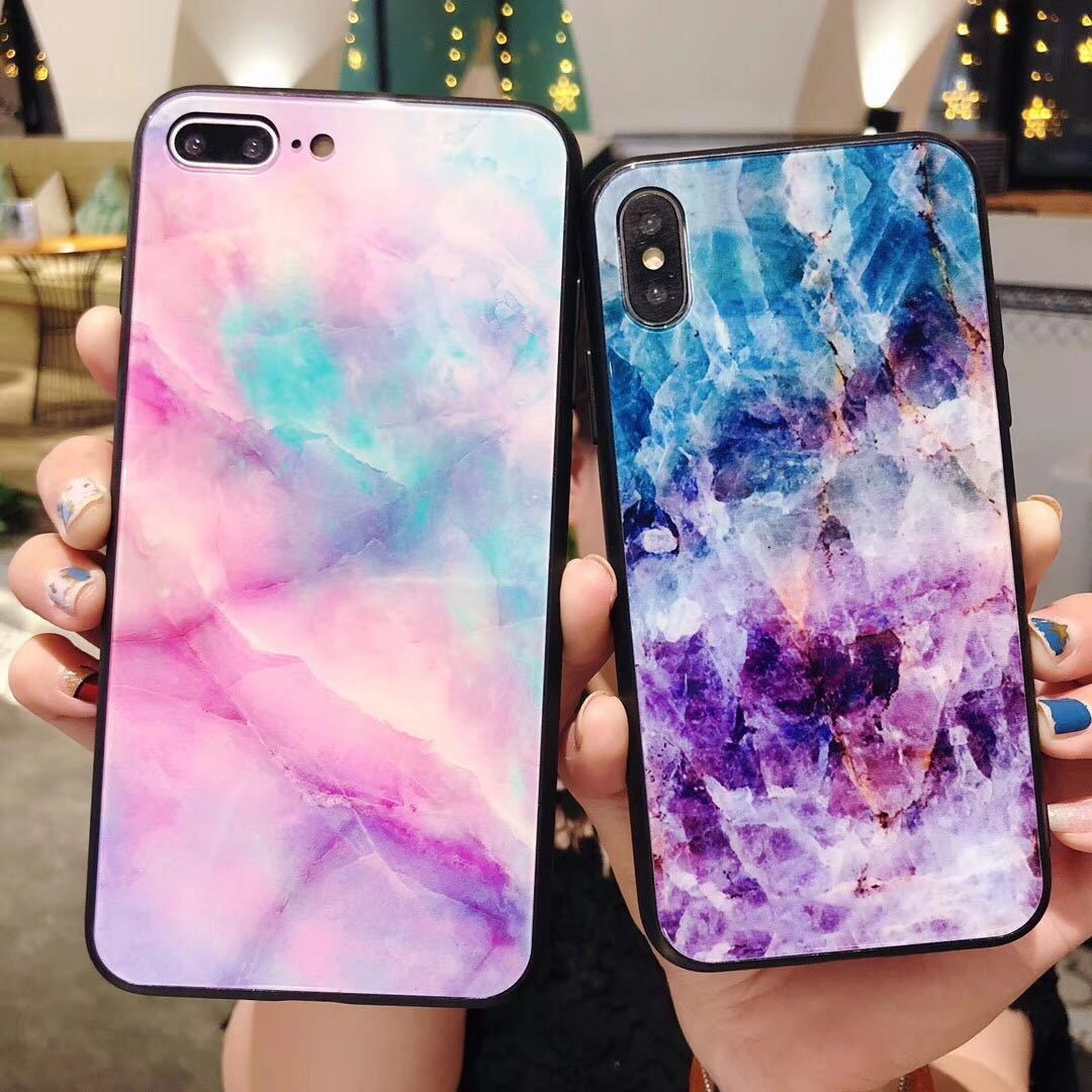 Tempered Glass Case For iPhone 7 8 Plus Case Silicone Stars Space Cover Phone Case For iPhone X XS Max XR 6s 6 6s Luxury Cases in Fitted Cases from Cellphones Telecommunications