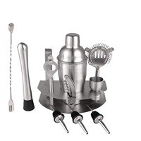 Home Cocktail Bar Set Brushed Stainless Steel 12 Piece Professional Bar Tool Kit Includes Martini Shaker, Muddler, Strainer, J