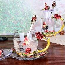 Цветок розы и стразы украшены эмалированная чашка для кофе кружка цветок чай стекло молочные чашки сплав рукоятка чашки и кружки подарок