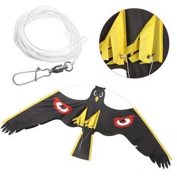 Repelente de pássaro preto voador, 5 estilos emulação, kite espantalho, decoração de jardim, quintal