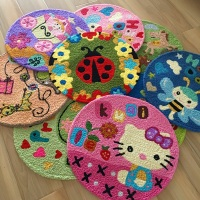 Hot Cartoon Round Door Carpet Home Decor Red Thickened Floor Mat Cute Cartoon Children's Doormat Bathroom Kitchen Rug Mat