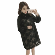 5e21feb09d4 2019 new maternity spring clothing solid color turtleneck long lantern  sleeve patchwork tassel shirts pregnant women
