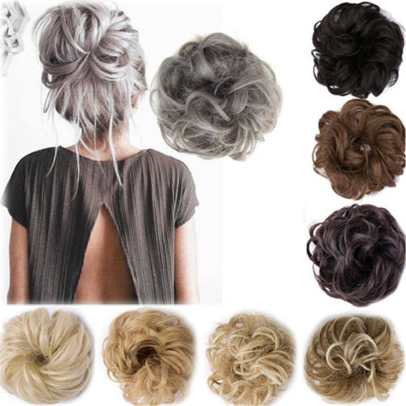 Hot Sale Women Baby Girls Real As Human Natural Curly Messy Bun Hair Piece Scrunchie Fake Hair Extensions Headwear Headband New