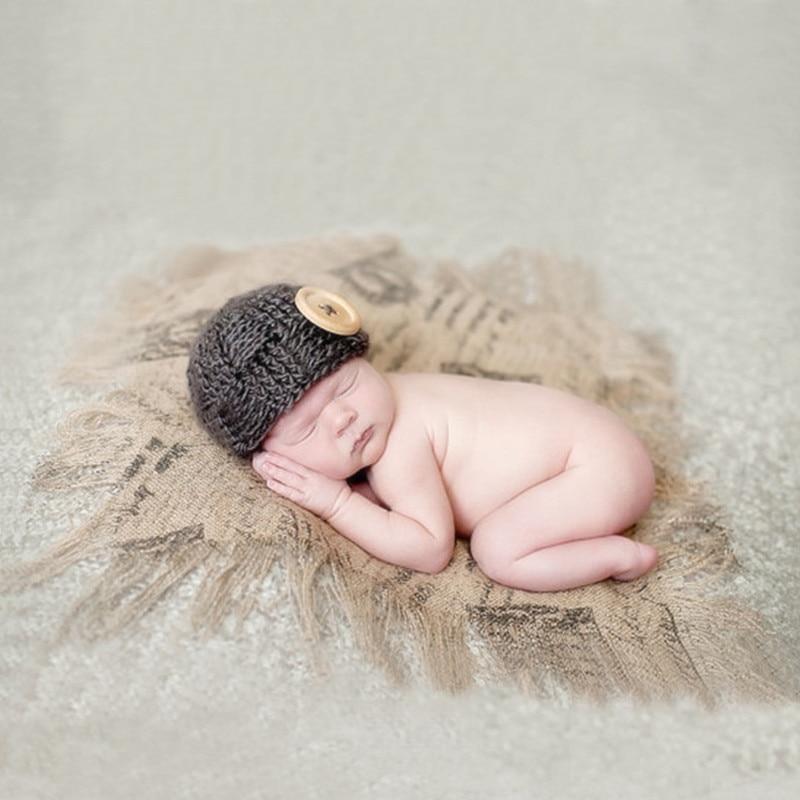 Newborn Photography Props Accessories Linen Tassel Baby Blankets Baby Photo Props Vintage  Background Cloth Studio Baby Blanket
