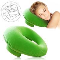 Cojín de aire inflable portátil en forma de U Almohada de Viaje para el cuello de terciopelo de Flocado de siesta de Almohada de Viaje para el cuello cabeza de coche de descanso del cuello|Almohadilla de cuello| |  -