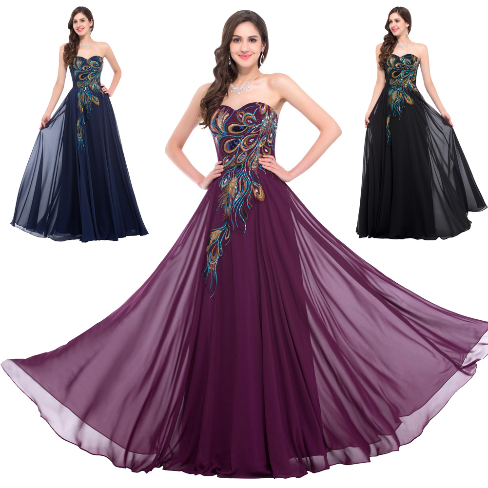 Women's Long Strapless Sweetheart Peacock Embroidery Mermaid Maxi Dress