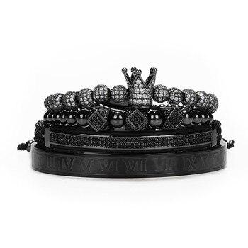 Classical Handmade Braiding Gold Hip Hop Men Pave CZ Zircon Crown Roman Numeral Bracelet 3
