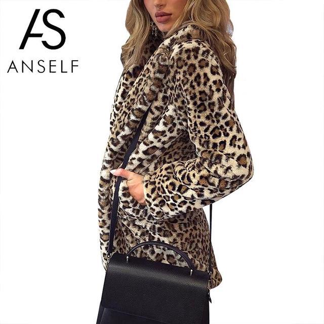 c7fe75c0fed6 2019 Autumn Winter Leopard Jacket Women Faux Fur Coat Leopard Print Long  Sleeve Jacket Parka female Outerwear Plus Size 3XL Coat