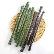 100 יח\חבילה 36 cm פרח קצרמר נובע נייר/פלסטיק ירוק פרחוני קלטת ברזל חוט מלאכותי פרח קצרמר נובע קרפט דקור