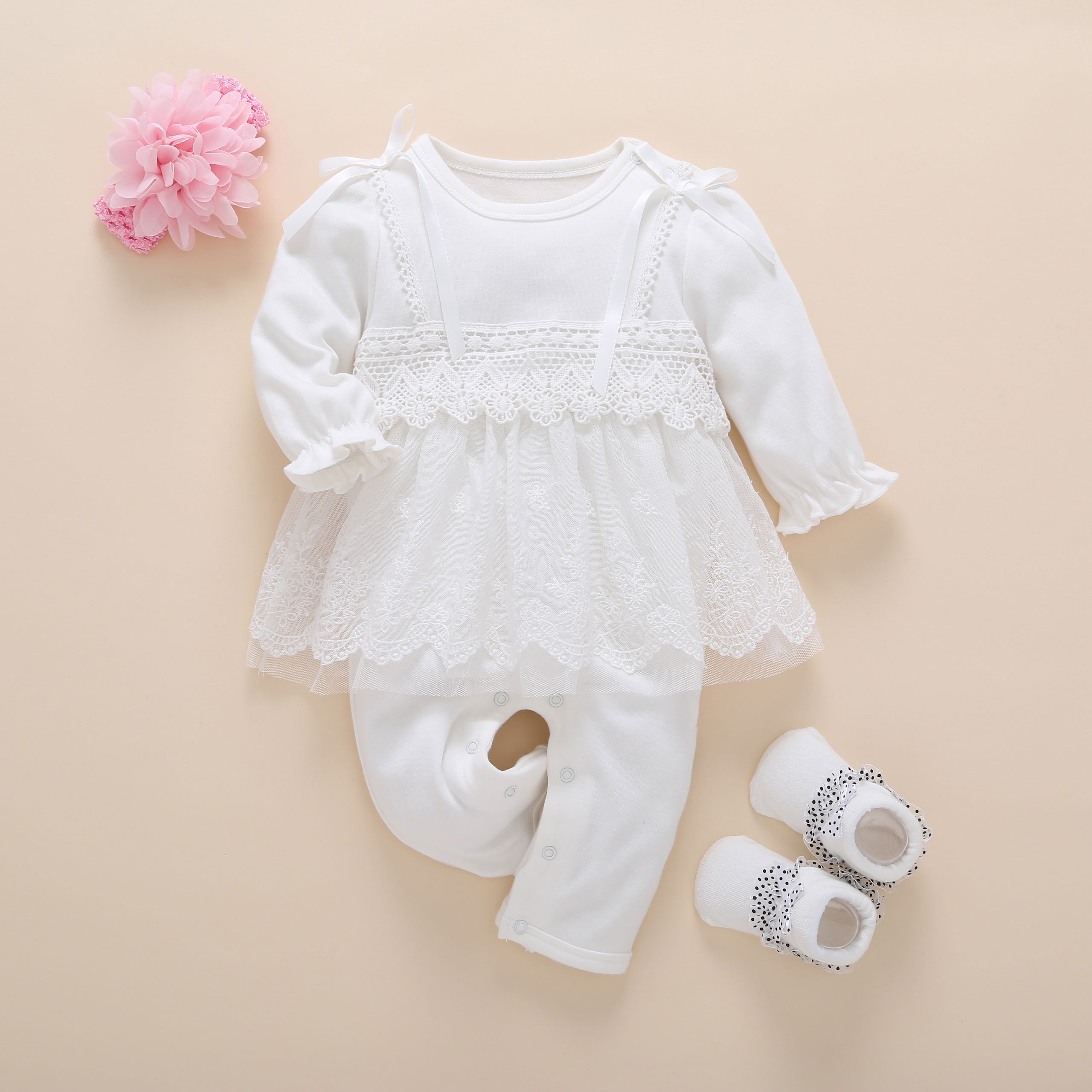 new born baby clothes long sleeved princess baby girl romper autumn spring lace children jumpsuit headband