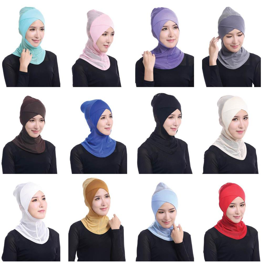 Ramadan Muslim Islamic Women Cross Easy Sport Cap Hijab Headwear Shawl Scarf Full Cover Solid Color Headscarf Beanies Bonnet New
