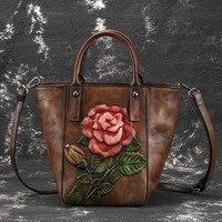 Роскошная женская сумка из воловьей кожи, сумка на плечо 2019, красная сумка для ведра, женская сумка тоут с цветочным принтом, сумки через пле