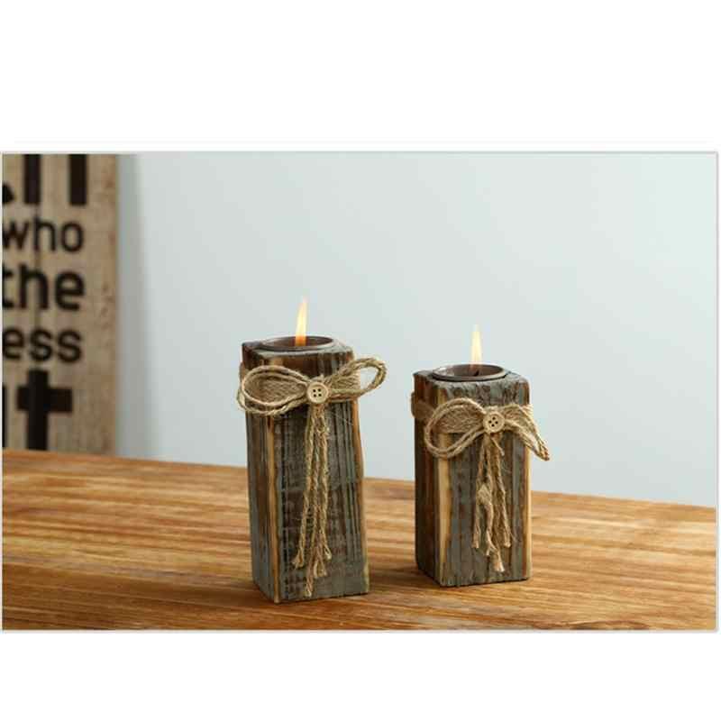 DIY ручной работы деревянные люстра в деревенском стиле подставка для чайной свечи подставка для бара дома Обеденный стол подарок вечерние украшения (размер-l)