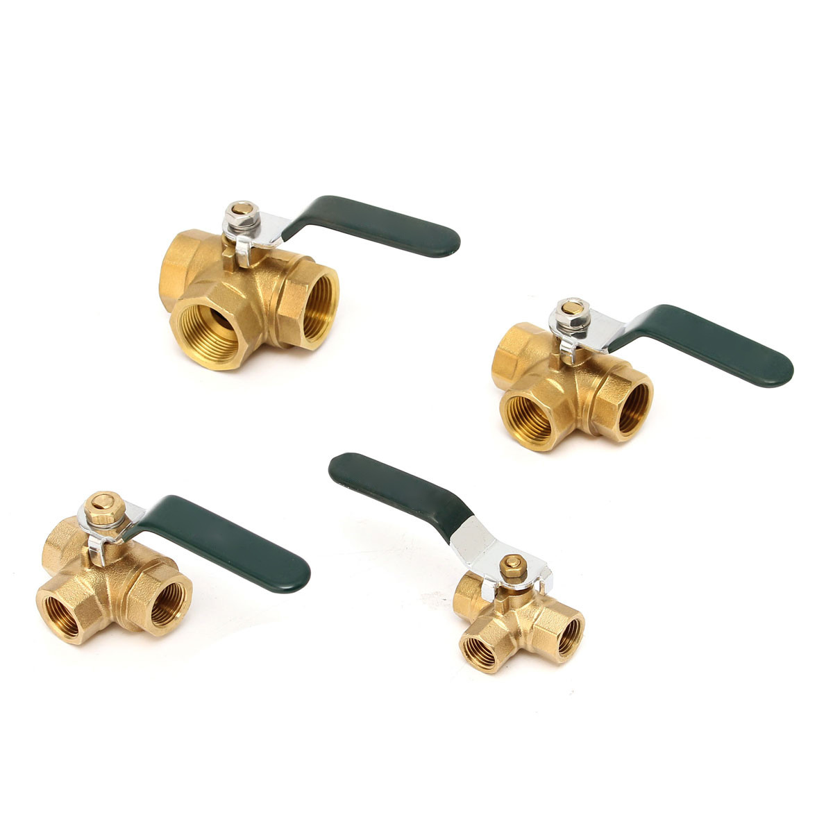 1/4 3/8 <font><b>1/2</b></font> 3/4Brass <font><b>Ball</b></font> <font><b>Valve</b></font> Fixed 3 Way Full L Type Port Thread Connector Faucet Value Water Filter Adapter Handle image