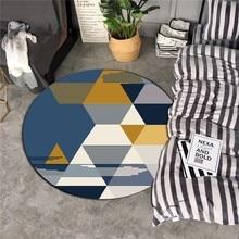 Nordic Geometric Carpet Living Room Bedroom Study Bedside Carpets Modern Round Child Flower Decor Rug Home
