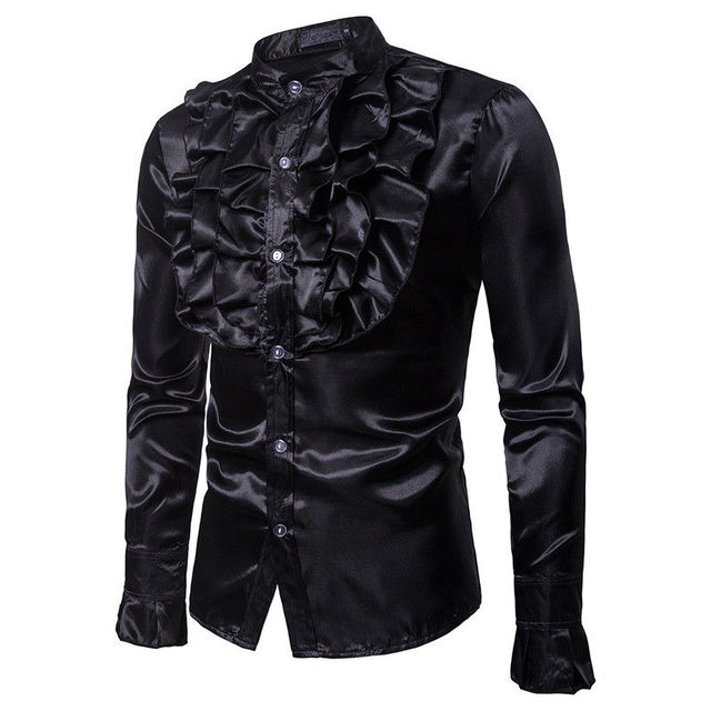 Men Party Luxury Satin Court Vintage Shirts New Casual Formal Business Slim Fit Shirts Top Clothes Clubwear 1