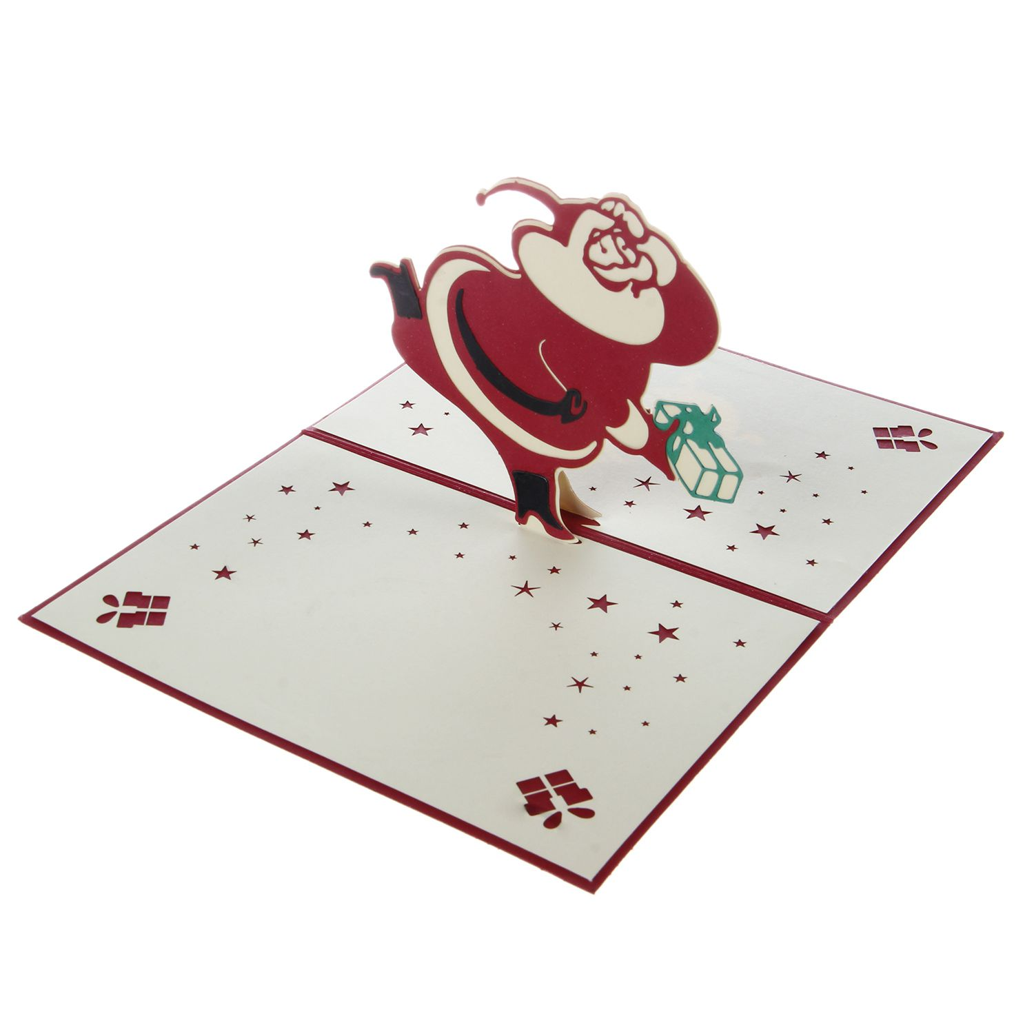 Handmade Blank 3D Pop Up Greeting Card PostCards Santa Claus With Matching Envelope Laser-Cut Surprisingly Perfect Decorations