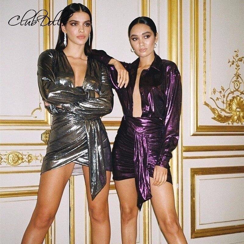 2019   Cocktail     Dresses   Short Knot Wrap Split Party   Dresses   Women Sexy Slim Bodycon   Dress   Female V Neck Long Sleeve   Dress   Vestidos