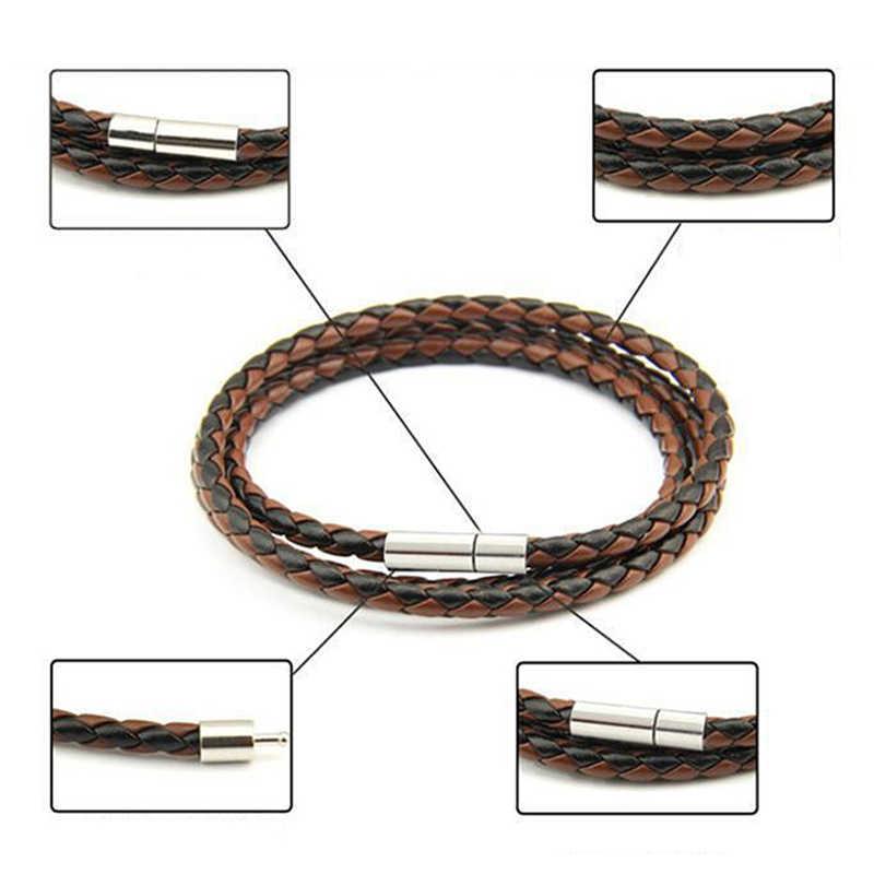 Bracelet à boucle unisexe hommes tresse fait à la main unisexe tressé en cuir multi-couche 1 pièce tressé Bracelet en cuir femmes