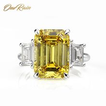 OneRain Vintage 100% 925 Sterling Silver 10 * 14 MM Citrine Sapphire Ruby Aquamarine Wedding Engagement Couple Ring Jewelry 5 12