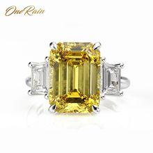 OneRain Vintage 100% 925 Sterling Silver 10*14 MM Citrine Sapphire Ruby Aquamarine ślub zaręczyny para pierścień biżuteria 5 12