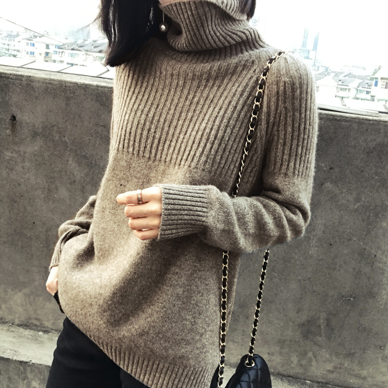 2019 Autumn And Winter New Cashmere Sweater Women's High Collar Loose Pullover Lazy Wind Sweater Large Size Was Thin