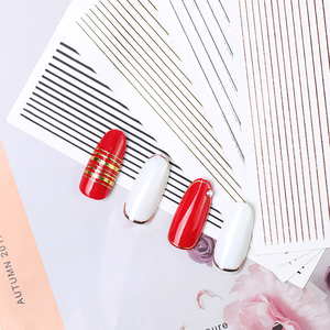 Image 3 - 1pc gold 3D nail sticker curve stripe lines nail stickers adhesive stripe band Nail Art stickers stickers Rose gold silver