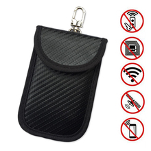 1pc New Carbon Fiber Anti-Theft Black Car Key Bag RFID Signal Blocking Remote Cover Pouch Case