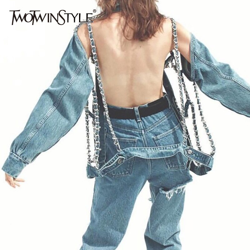 TWOTWINSTYLE Fashion Chains Patchwork Denim Women Jacket Lapel Long Sleeve Button Hollow Out Backless Coat Female Summer 2020
