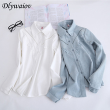 Fall Square Collar Shirt Women Lace Openwork Applique Simple Versatile Harajuku Fashion Blue White Shirt Long Sleeved Blouse new arrival simple style children s long sleeved shirt spring fall girl collar striped shirt girl blouse 5 10y