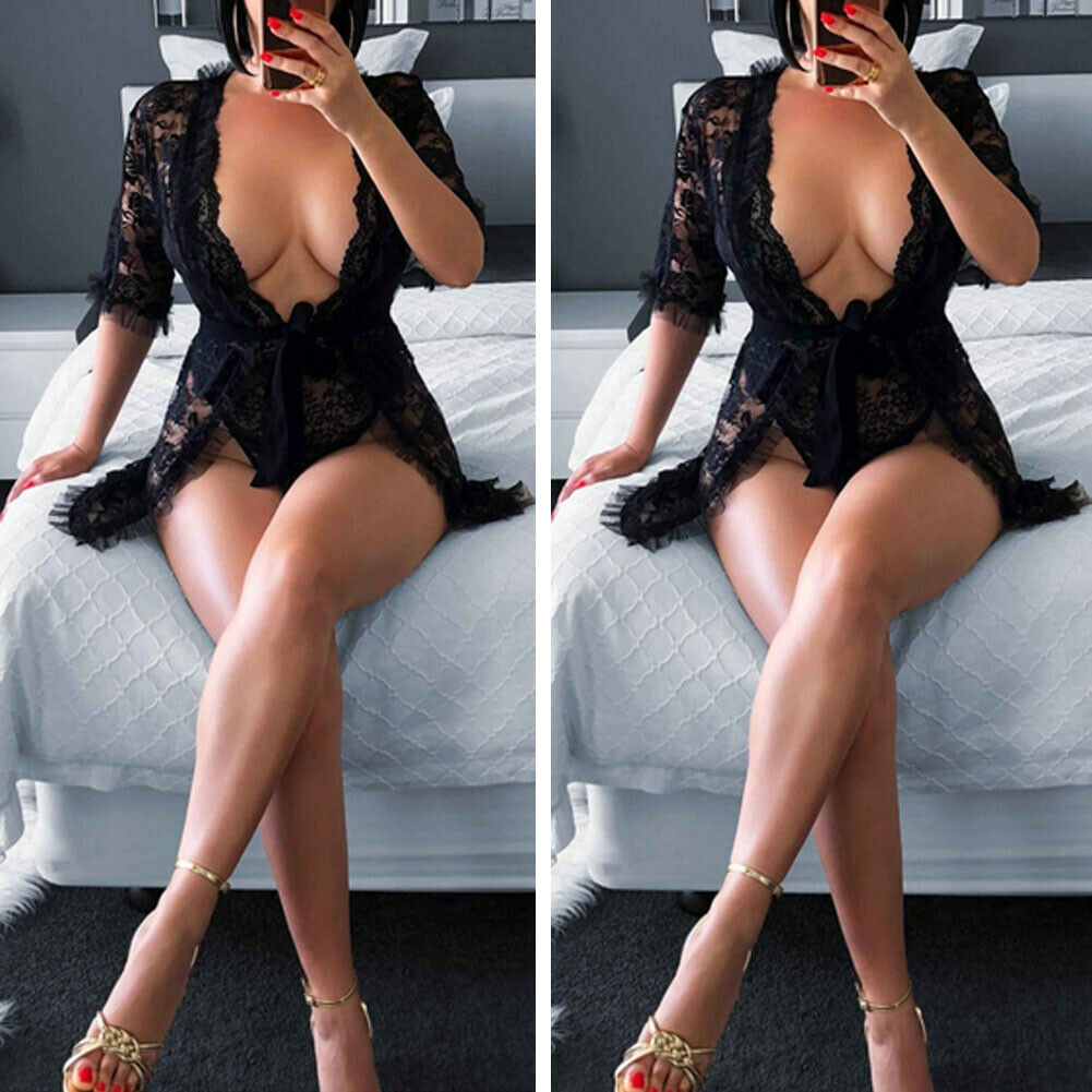 <font><b>Sexy</b></font> <font><b>Lingerie</b></font> Women Ladies Black Lace Robe Sleepwear Dress See Through Female Floral Babydoll Nightgown Costumes image
