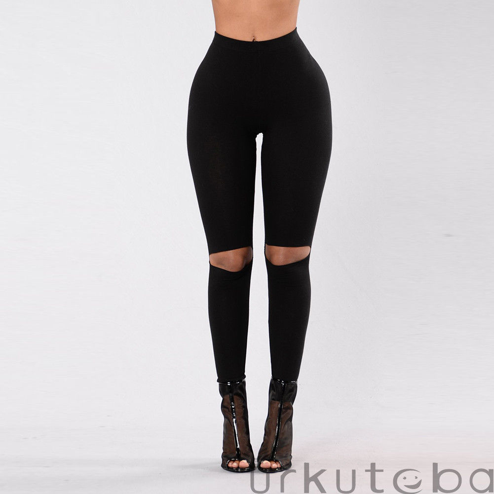 2019 Women Casual Stretch Fitness Leggings Running Athletic Sport High Waist Hole Pants Trousers Plus Size S-3XL