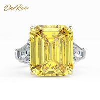 OneRain Classic 100% 925 Sterling Silver 14 * 16 MM Moissanite Wedding Engagement Cocktail Couple Ring Jewelry Size 5 12