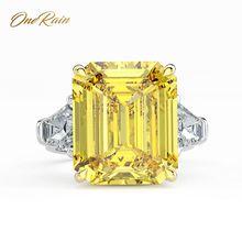 OneRain anillo de compromiso clásico de 100% Plata de Ley 925, 14x16 MM, moissanita, para parejas, joyería, talla 5 12