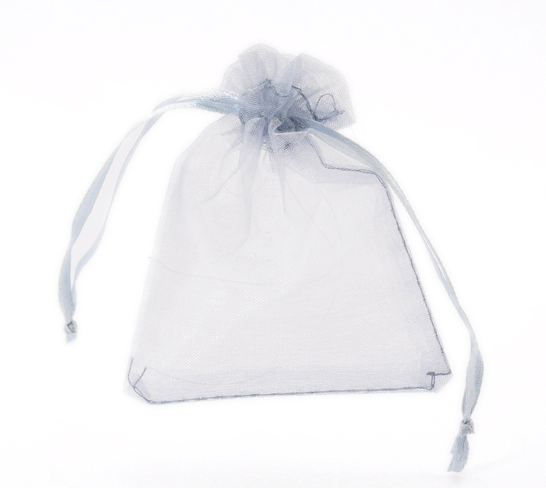 100PCs Silver-grey Organza Gift Bags With Draw String 9x7cm(3 4/8