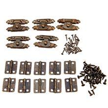 5 шт. античная бронза античная Защелка двери шкафа Засов декоративные с 10 шт. ретро дверные петли