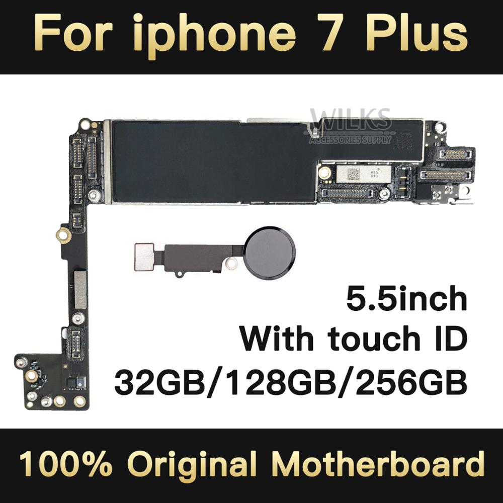 100% débloqué Original pour iphone 7 plus Carte Mère avec Tactile ID, pour iphone 7 P Carte Mère avec Puces, 32 gb/128 gb/256 gb