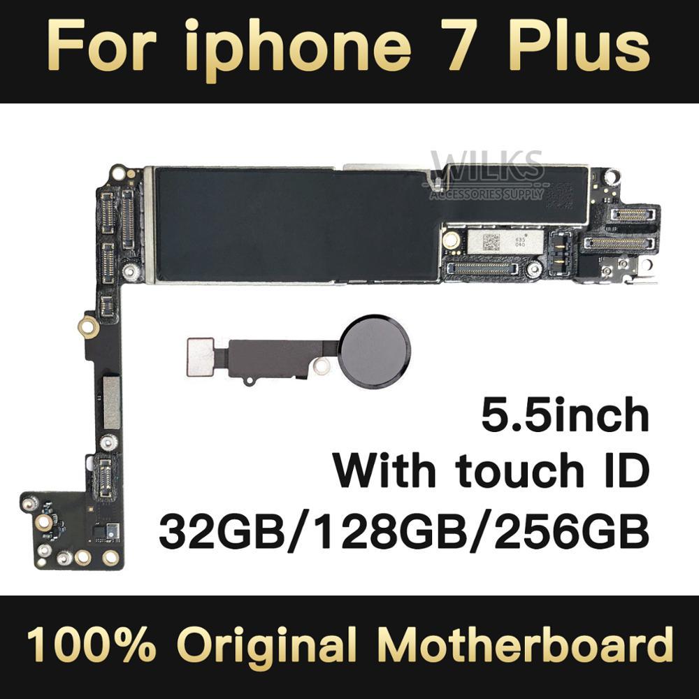 100% sbloccato Originale per iphone 7 plus Scheda Madre con Touch ID, per iphone 7 P Mainboard con Chip, 32 gb/128 gb/256 gb