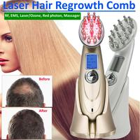 EMS Microcurrent Photon Light RF Hair Loss Renewable Therapy Vibration Massage Scalp Laser Hair Growth Rechargeable Care Device