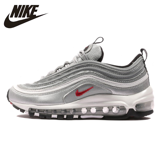 e0ec3dab19 Nike Air Max 97 OG QS Men's Breatheable Running Shoes Gold And Silver  Bullet Sneakers # 884421