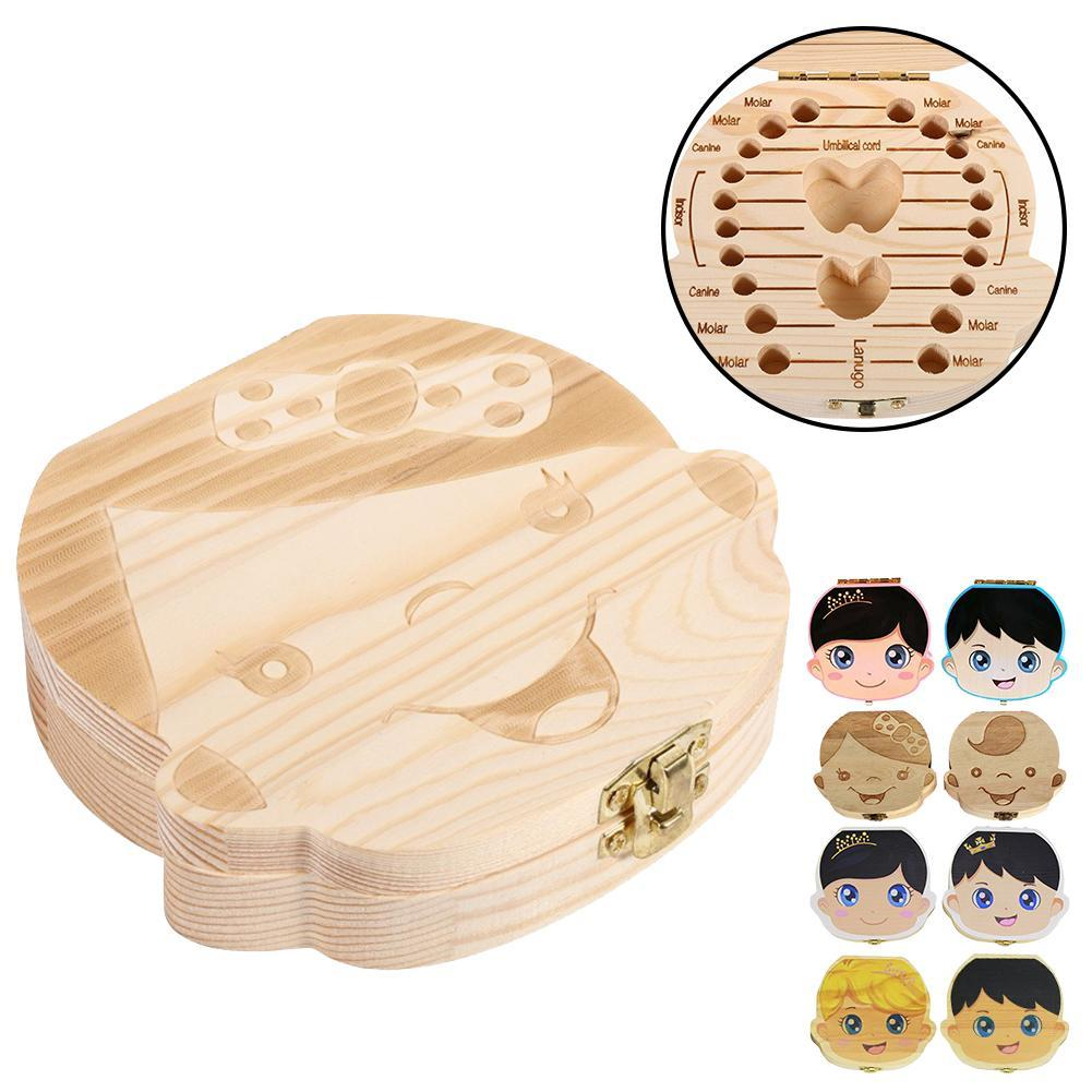 Wood Tooth Box 4 Patterns Baby Kids Tooth Box Storage Baby Milk Teeth Collect Organizer Spanish English French Russian Case