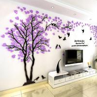 Маленькие влюбленные дерево 3D настенные наклейки художественные настенные наклейки s для семьи гостиная спальня настенные украшения