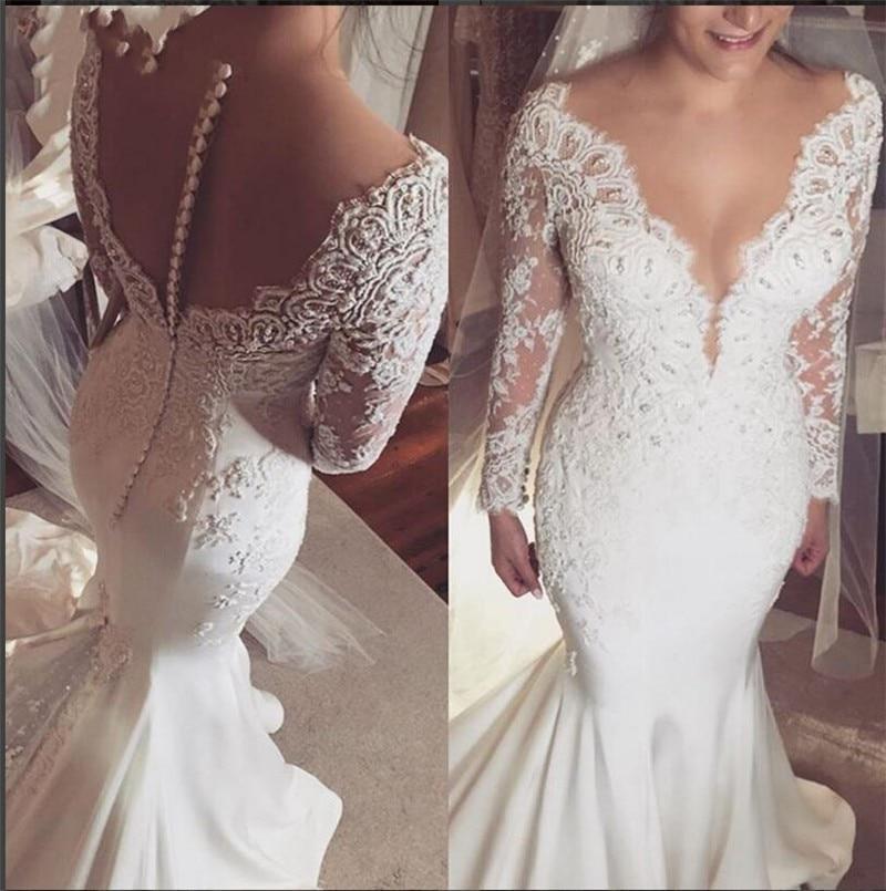 Sheer Lace Long Sleeve Satin Mermaid Wedding Dresses: Vestidos De Novia Modest Long Sleeve Lace Satin Wedding