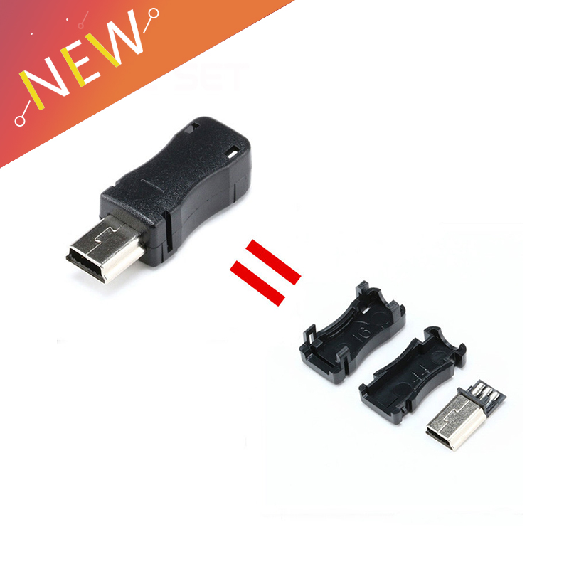 10pcs Mini USB 5 Pin T Port Male Plug Socket Connector With Plastic Cover For DIY Dropshipping Adapter PCB SDA Data Cable Line