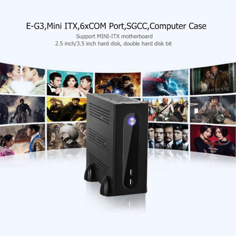Компьютер чехол E-G3 мини ITX сервера башня 6xcom Порты и разъёмы встроенный ПК Шасси SGCC лист для универсальная материнская плата USB2.0 COM отверстия
