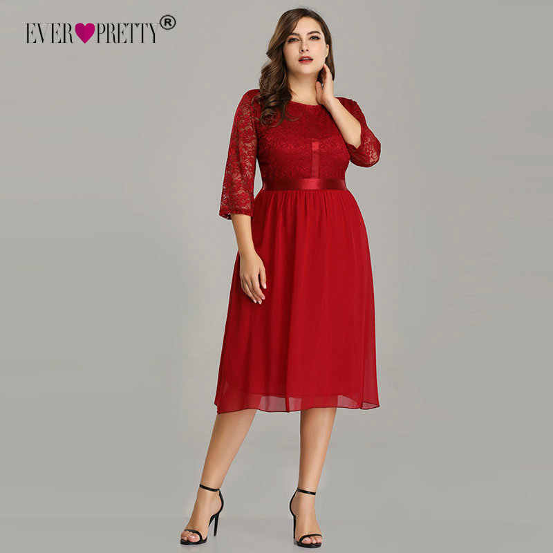 8206e82e40 Plus Size Red Short Prom Dress 2019 Ever Pretty Elegant A Line Half Sleeve  Lace Blue Formal Wedding Guest Gowns Robe De Soiree