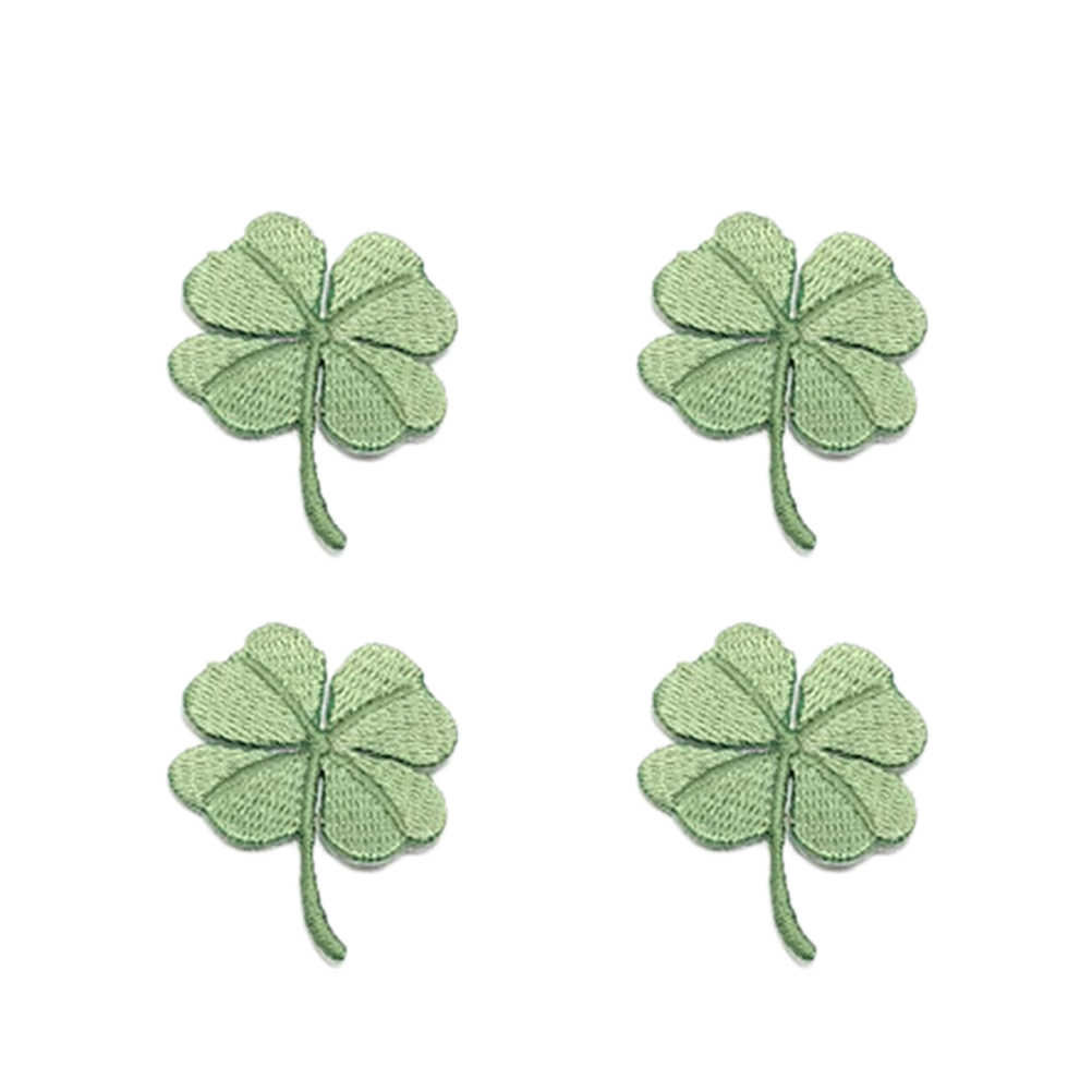 4 pcs Embroidery Patches Gummed Four Leaf Clover Lovely Garment Sewing DIY Accessories Cloth Paste Applique for Jeans Bags
