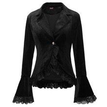 Новинка, винтажное Женское пальто, осеннее, готическое, викторианское, длинный рукав, воротник с лацканами, дизайн одной кнопки, кружевная отделка, бархатное пальто, вечерние, тонкие Топы