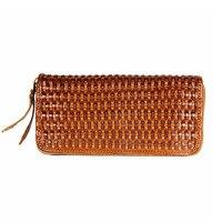New Arrival Brand Weave Clutch Men Wallets Male Wallet Genuine Leather Long Purses for Women Card Holder Zipper Purse